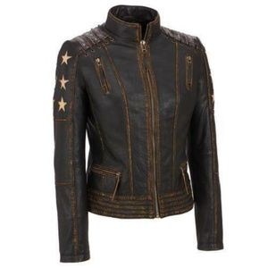Brown Distressed Leather jacket with lacing